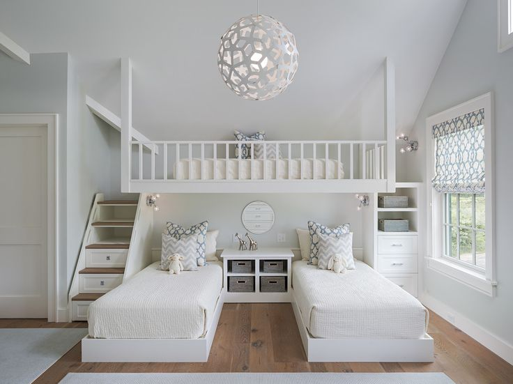 These bunk bed are very cute and uniquely designed.  The only thing I would do differently would be to put a larger mattress on the top bunk that fits the whole space.  Charming Vacation Home home interior design Boston Transitional beachy bunk beds Built-in Bunks fun bunk beds girl bunk beds lofted bed roman shades triple bunk beds twin beds