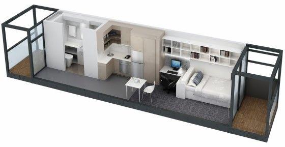 Plano de apartamento pequeño largo