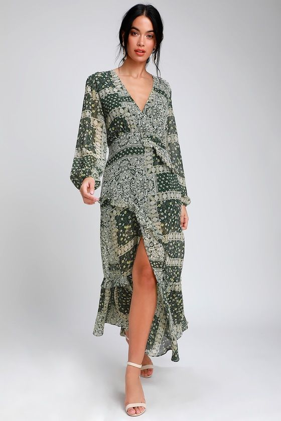 36f65e677e6d Field of Flowers Green Multi Print Long Sleeve Maxi Dress in 2019 ...