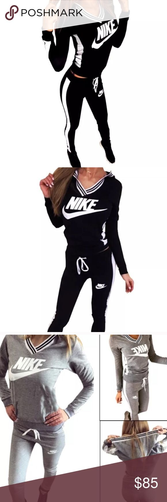 NIKE Sweat suit jogger pants and hoodie Nike athletic set. Black jogger pants size small. And black hoodie size small. New without the tags. Perfect condition Nike Tops Sweatshirts & Hoodies