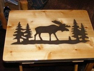 Two Wood Tv Tray Tables Moose And Bear Hand Made Design Rustic Cabin Decor