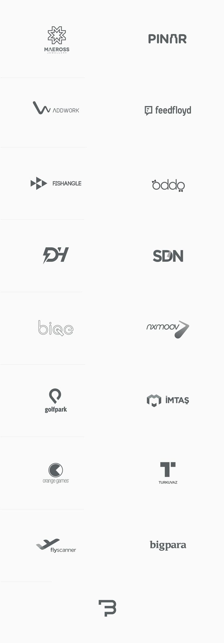 Logo collection from 2014 by Fatih Bektaş, a graphic designer based in Istanbul, Turkey. The logos were created for a variety of branding and graphic design projects. Fatih Bektaş' collection includes different graphics and custom letterings.
