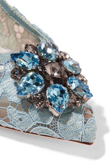 Dolce & Gabbana - Crystal-embellished Lace Pumps - Light blue - IT37.5