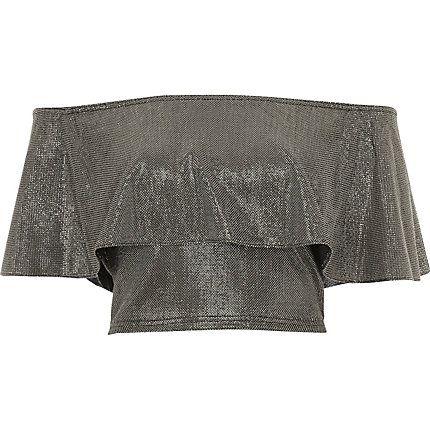 Silver deep frill bardot crop top £26.00