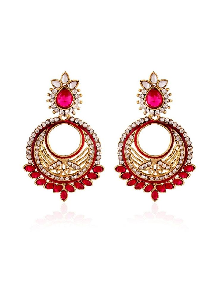 Stone Studded #Earrings with diamantes. Item Code: JRUM539 http://www.bharatplaza.com/new-arrivals/jewellery.html