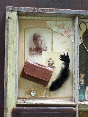 Use an old vintage frame as a shadow box with each plane displaying family history.