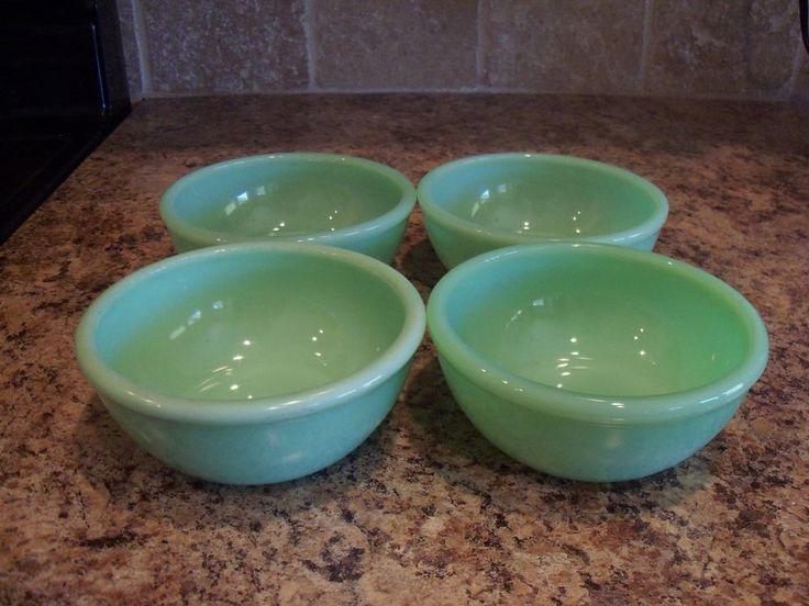 Set of 4 Vintage Fire King Jadite/Jadeite 10oz Beaded Rim Bowls #FireKing