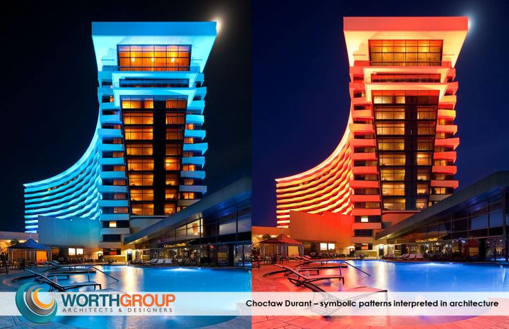 Choctaw Casino Durant Expansion- Capturing the movement of the Tribe's symbolic western diamondback rattlesnake, undulating curves seemingly put the hotel tower architectural design in motion.  With the onset of evening, the illuminated interpretation of color from Choctaw ancestral garments and beadwork transforms the tower into a vibrant beacon visible for miles.
