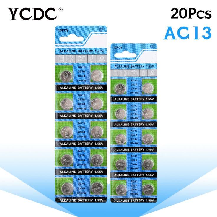 YCDC 20x1.5 V AG13 Bateria LR44 L1154 RW82 RW42 SR1154 SP76 A76 357A ag13 lr44 SR44 pila AG 13 Botão Alcalina Celular Coin bateria