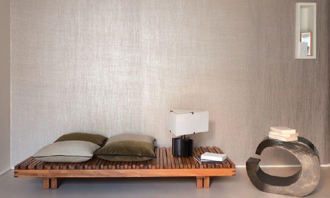 Elitis Luminescent Isis wallpaper.  A pear metallic embossed modern wallpaper.