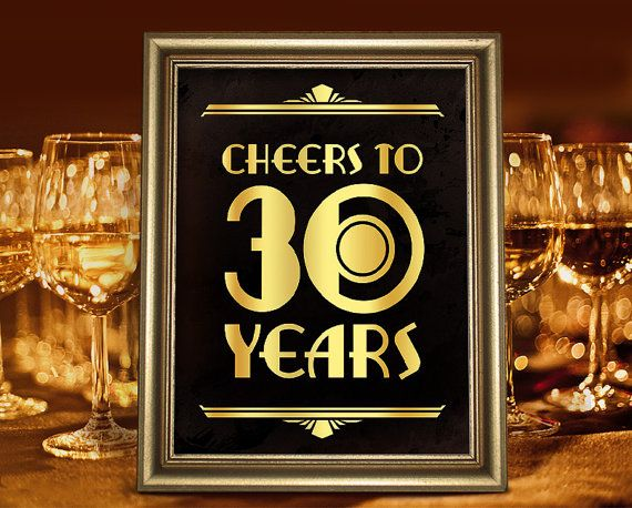Cheers to 30th years. 30th birthday party decor. Great Gatsby birthday. Birthday…