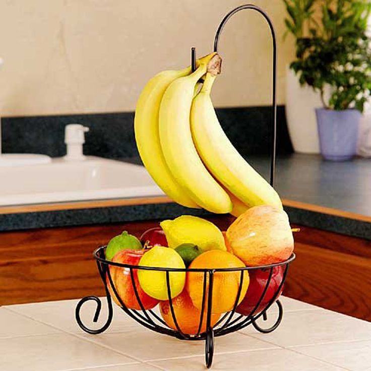 It comes with a detachable hook to support to hang bananas for perfect ripening while preventing bruises. Therefore it is really a wonderful fruit basket holder for choice. 1 Novelty Kitchen Metal Fruit Basket with Detachable Banana Hanger Holder Hook (Black). | eBay!