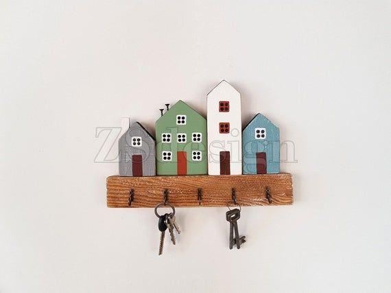 Reclaimed Key Hooks Keys Hangers Wall Mounted Rack Wooden Key Holder Wooden Houses Key Holder For Wall Wooden Key Holder Key Hanger Wall Key Holder