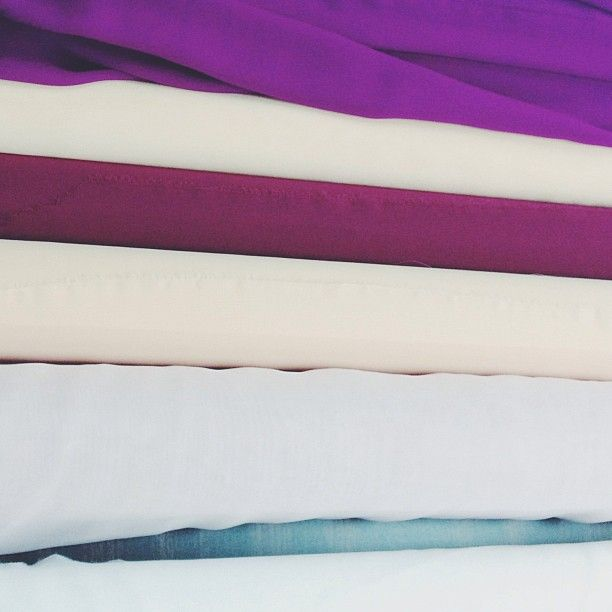 From our first round of fabric sourcing- silks of the warm palette.