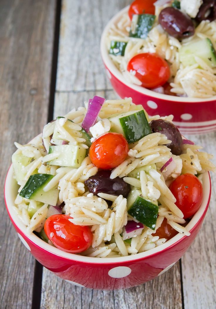 Greek Orzo Pasta Salad -- This refreshing recipe is party-ready in just 30 minutes, and sure to be a crowd-pleaser. Recipe and photo by blogger, Kimberly Schiffel, of www.bakelovegive.com.