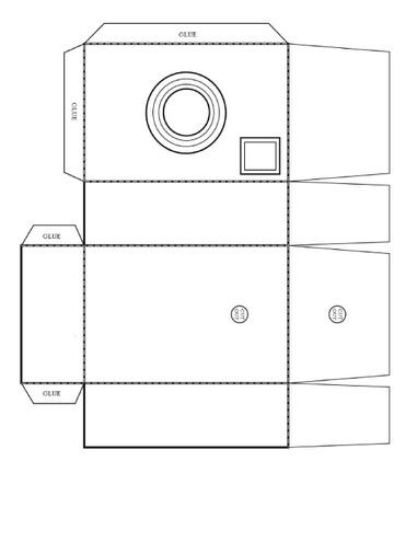 "Paper camera template. Print, Paint and glue to cardboard cereal box for sturdines. cut and fold. Awesome way to keep the kids busy ""taking pictures"""