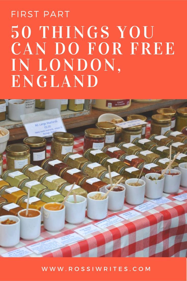 Pin Me - 50 Things You Can Do For Free in London, England - First Part - www.rossiwrites.com