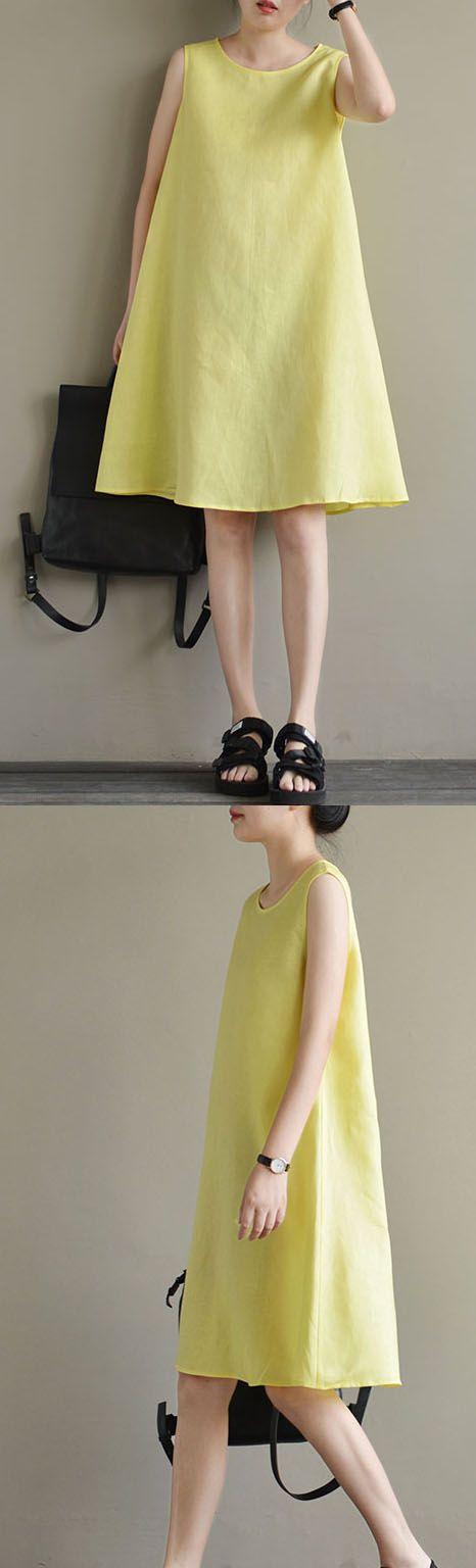 new yellow cute elegant linen sundress sleeveless slim women dress