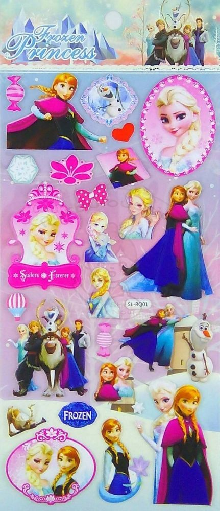 DISNEY FROZEN PVC PUFFY STICKER/DIY SCRAPBOOK/CELLPHONE STICKER/KIDS GIFT #B