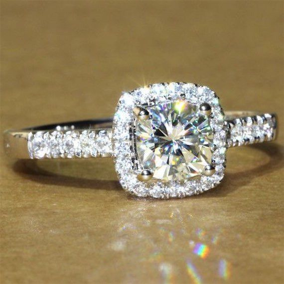 A Perfect 1.8CT Asscher Cut Halo Russian Lab Diamond Gold Ring