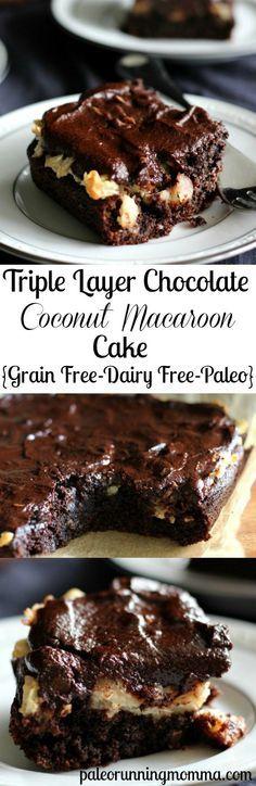 Triple Layer Chocolate Coconut Macaroon Cake - Gluten Free #grainfree #dairyfree #paleo