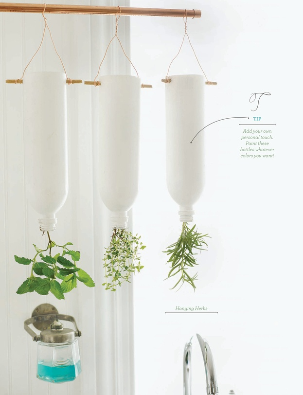 Indoor Hanging Herb Planters Part - 46: Hanging Herbs In Painted Water Bottles. Sweet Paul Magazine - Summer 2012 -  Page 122