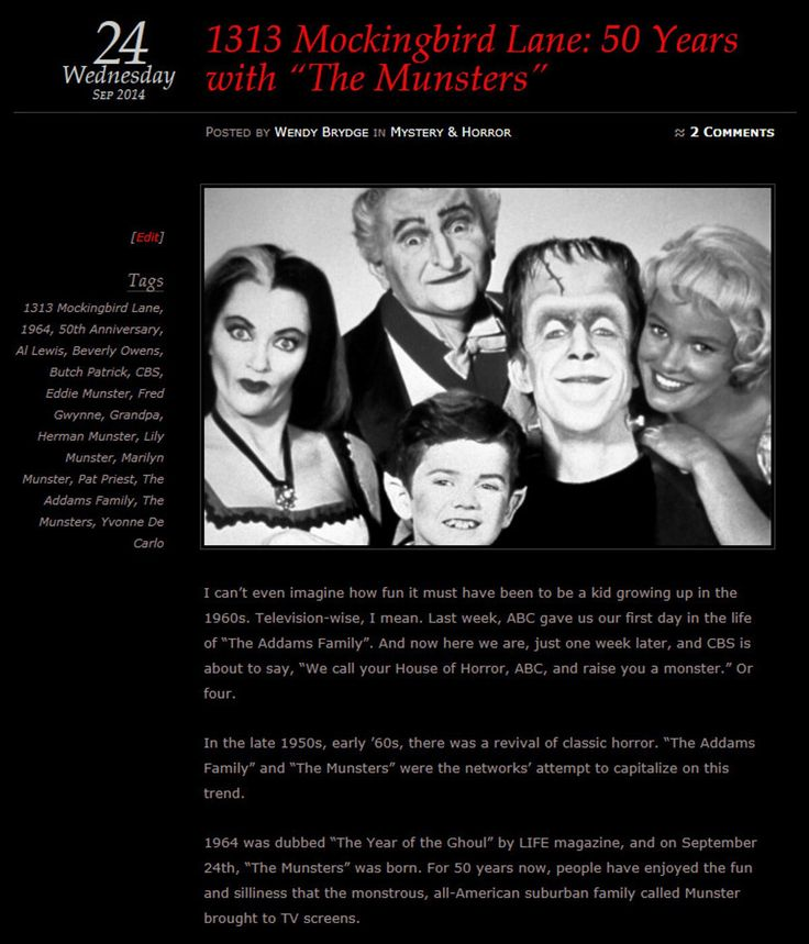 "September 24, 1964: ""The Munsters"" premieres on CBS -- My 50th anniversary blog post: ""1313 Mockingbird Lane: 50 Years with The Munsters"" ~ @Wendy B."
