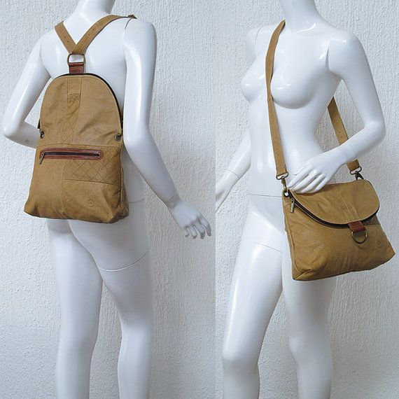 Double use camel messenger/ backpack with terracota details, UPCYCLED LEATHER