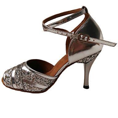 Women's Dance Shoes Leather Leather Latin Sandals / Heels Stiletto Heel Indoor Blue / Purple / Silver – AUD $ 94.05