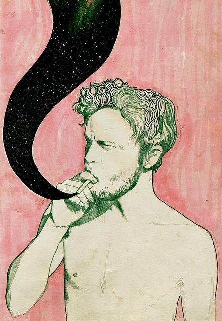 parde um homen com fundo de quadro usando a fumaça para ter um universo Here come the tears, but like always I let them go. by Lea Woodpecker, via Flickr