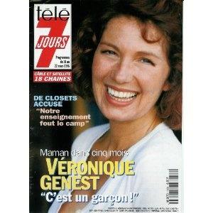 """Véronique Genest, maman dans 5 mois : """"C'est un garçon !"""", dans Télé 7 jours (n°1868) du 16/03/1996 [couverture et article mis en vente par Presse-Mémoire]"""