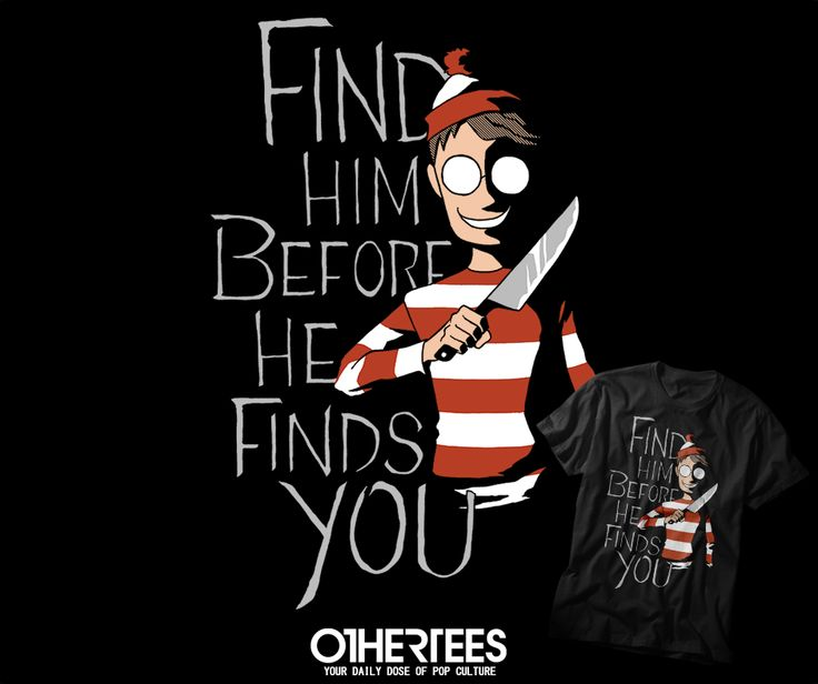 """HIDING IN THE DARK"" by ALICAT2575 T-shirts, Tank Tops, V-necks, Hoodies and Sweatshirts are on sale until October 21st at www.OtherTees.com #tshirt #othertees #clothes #popculture #whereswaldo #waldo #wally #parody #cartoon #halloween"