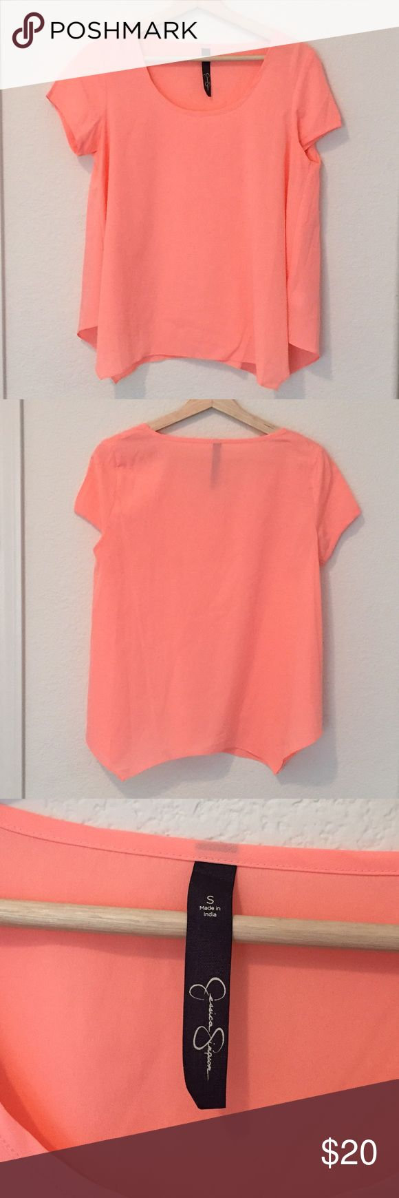Jessica Simpson | Neon Coral Blouse This is an adorable blouse! It's in great condition. It's a small but fits more like a medium. It's too big on me. My loss, your gain! Please let me know if you have any questions. From smoke-free home. 💋 Jessica Simpson Tops Blouses