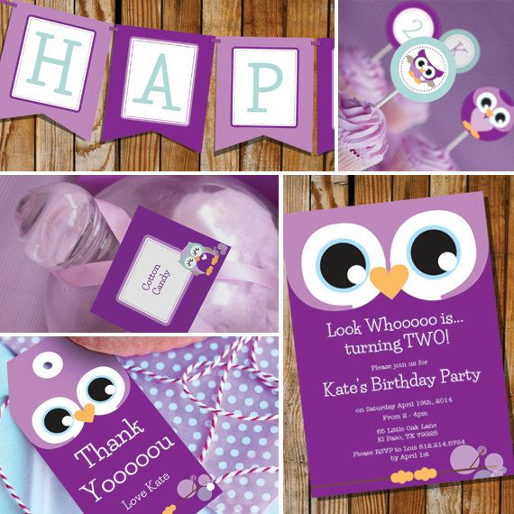 Owl Girl Birthday Party  Purple & Teal  by SunshineParties on Etsy, $18.00