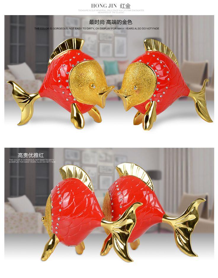 Свадебный подарок идеи новый дом гостиной телевизор кабинета украшения пары целовались рыбы украшения ремесел мебель мода - Taobao