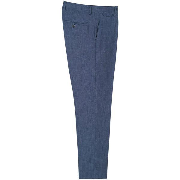 MANGO MAN Slim-fit wool suit trousers (2.555 RUB) ❤ liked on Polyvore featuring men's fashion, men's clothing, men's pants, men's dress pants, indigo blue, mens slim dress pants, mens wool dress pants, mens slim fit pants, mens slim fit dress pants and mens wool pants