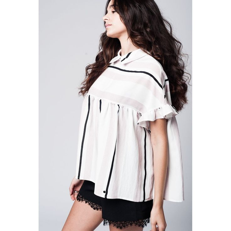 Pink smock top in stripe with ruffle sleeve