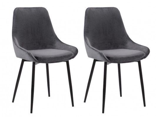 Stuhl 2er Set Samt Masurie Grau Gunstig Online Kaufen Stuhle Samt Stuhlbezuge