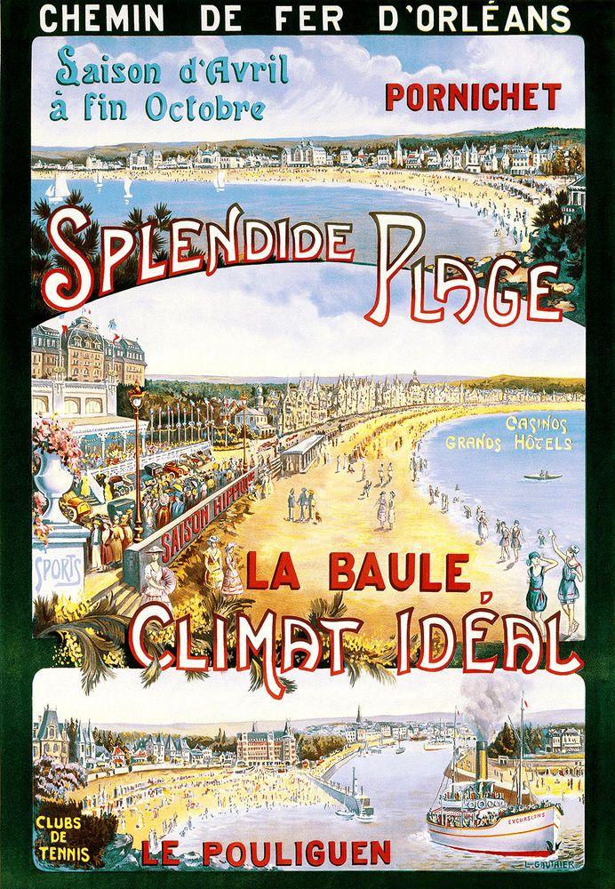 Affiche chemin de fer d'orléans - Pornichet - Baule - Le Pouliguen -