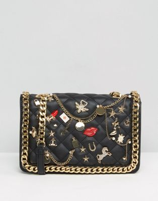 ALDO  Quilted Cross Body Bag With Badges