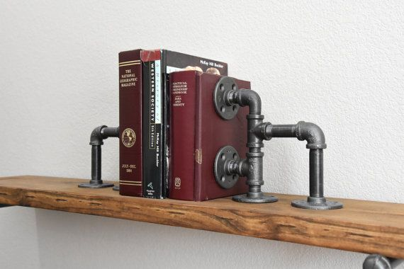 Industrial Bookends - Two Iron pipe rustic book ends - Steampunk bookends - Modern bookends - Urban Metal Bookend - Bookcase Organizer set