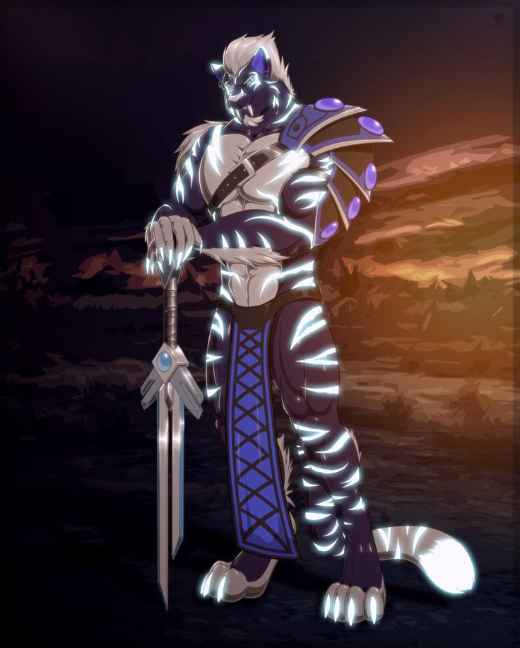 e621 anthro armor clothed clothing feline loincloth looking_at_viewer male mammal melee_weapon muscular smile solo standing sword tridark weapon