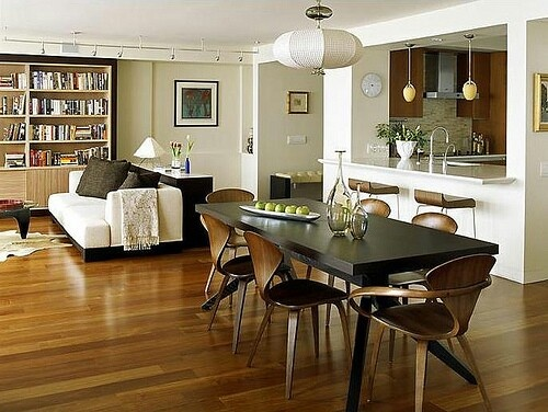 I love this open plan kitchen, living room and dining room