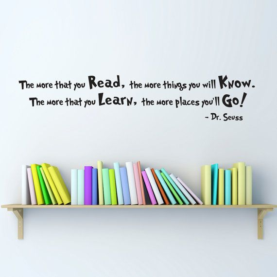 Dr. Seuss Quote Wall Decal - Medium - The more that you Read - Dr. Seuss Wall Art on Etsy, $18.00