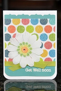 Get Well Soon Card- I like the border punch on just one side of the plain paper.