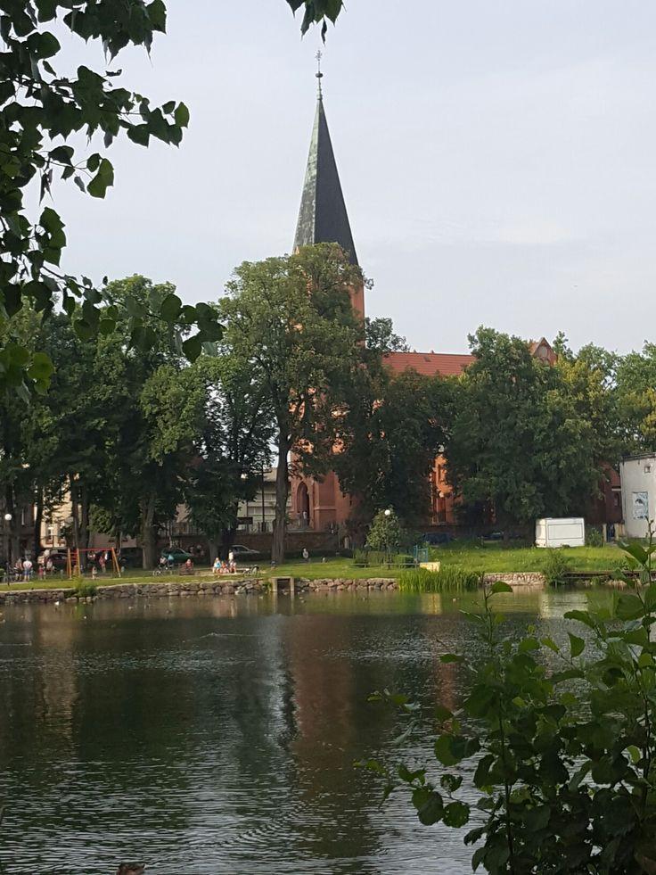 Wałcz jezioro zamkowe kościół