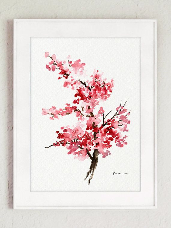 Cherry blossom painting Pink art print Set of 2 by ColorWatercolor