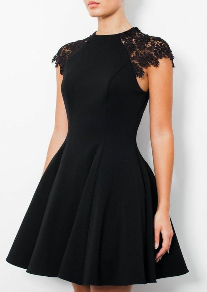 elegante damenmode schwarzes kleid mit spitze dame frau party