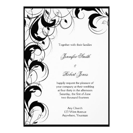 40 best Filigree Scrollwork and Curlique Wedding Invitations – Black and White Invitation Cards