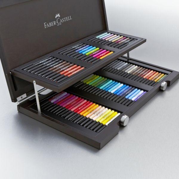 Faber-Castell Pitt Artist Pen Wooden Gift Box Set of 90. Para quem ama desenhar e pintar existe a caixa dos sonhos!!!